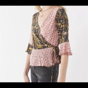 Urban Outfitters Jayde Mixed Print Wrap Blouse